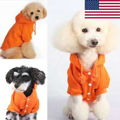 US Small Cute Pet Dog Cat Clothes Puppy Warm Sweater Hoodie Coat Costume Apparel