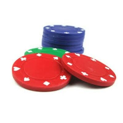 Poker Casino Chips ~ Suited Design 4 Colours Per Pack Red / Green / Blue / Black