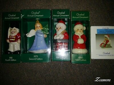 5 Goebel Christmas Ornaments, 81 Nutcracker, 79 Angel with tree, 82 Santa in...