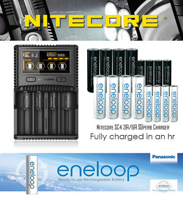 Nitecore SC4 3A / 6A Super Fast Battery Charger & Panasonic eneloop / Pro Bundle
