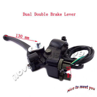 Brake Lever Dual Double Cable Wire Control ATV Quad Motor MX Dirt Pit Moped Bike