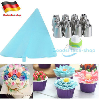 12 Russische Tulip Spritztülle Icing Piping Nozzles Set Spritzbeutel & Adapter