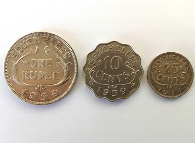 Seychelles 1 Rupee 1939,25 Cents 1939 and 10 Cents 1944 King Goerge #CIS