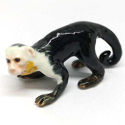 Handmade Miniature Collectible Ceramic Black Capuchin Monkey FIGURINE Gift Decor