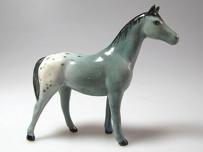 Handmade Miniature Collectible Ceramic Porcelain GRAY Horse Figurine