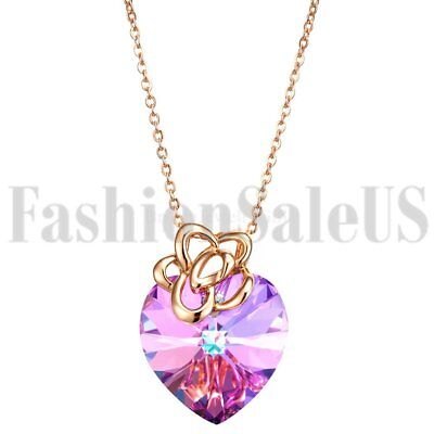 925 Silver Heart Made with Swarovski Elements Crystals Promise Pendant Necklace