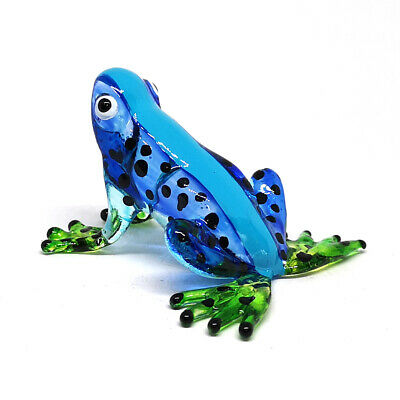 Lampwork Collectible Miniature Hand Blown Art Glass Blue Frog Figurine Garden
