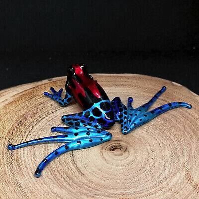 Lampwork MINI Folk Art HAND BLOWN Art GLASS Blue Magic Frog FIGURINE