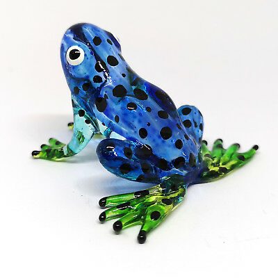 GLASS BLUE Frog FIGURINE Zoo Craft Lampwork COLLECTIBLE MINIATURE HAND BLOWN