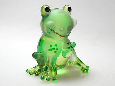 COLLECTIBLE MINIATURE HAND BLOWN Art GLASS Green Kelo Cartoon Frog FIGURINE