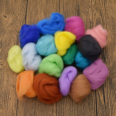 DIY 36 Colors Wool Fibre Needle Felting Spinning Supplies Yarn Sewing Trimmings