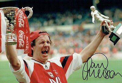 Paul MERSON SIGNED Autograph 12x8 Arsenal Cup Winning Photo AFTAL COA