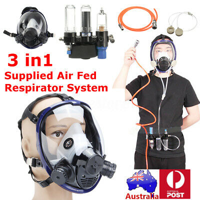3 in1 Function Supplied Air Fed Respirator System For 3M 6800 Full Face Gas Mask