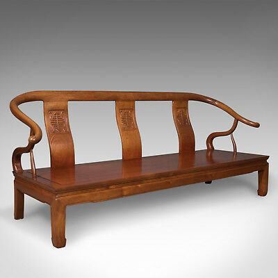 Chinese Rosewood 3 Seater Bench in Traditional Form Dating to Late 20th Century