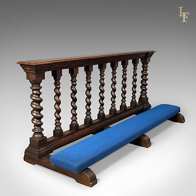Antique Communion Rail in English Oak, Victorian Ecclesiastical c.1900