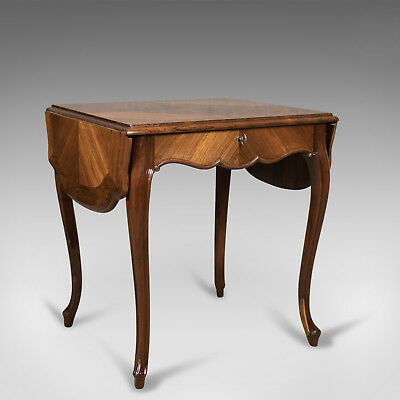 19th Century French Antique Sofa Table, Kingwood Drop Flap Occasional, c.1880