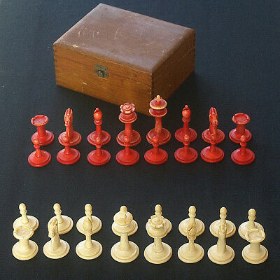 Antique C19th European Carved Bone Chess Pieces Full Set with Original Wood Box