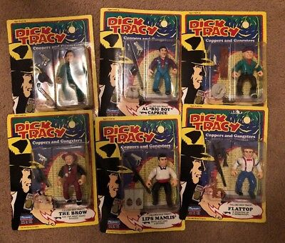 "1990 Playmates Dick Tracey 4"" Figures, Set of 6 New In Box Figures, Lips BIG BOY"