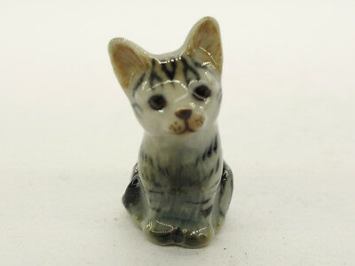 Hand Painted Miniature Collectible Ceramic Porcelain Siamese Gray Cat FIGURINE