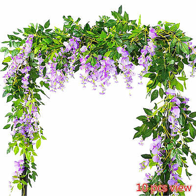 Artificial flowers garland silk wisteria ivy vine green leaf hanging artificial flowers garland silk wisteria ivy vine green leaf hanging vine purple mightylinksfo