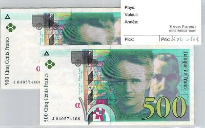 2 Billets France - 500 Francs 1998