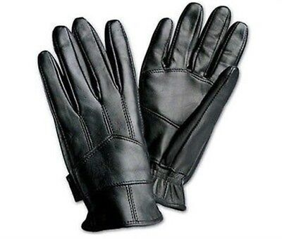 Mens/Womens Leather Insulated Gloves Solid Black Genuine Driving Pair Comfort