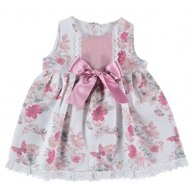 Baby Girls Spanish Dusty Pink Floral Butterfly Print Large Bow Dress 0-36 Months