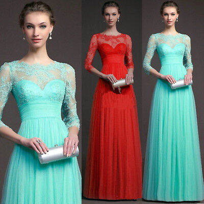 Women Formal Lace Long Prom Evening Party Cocktail Bridesmaid Wedding Maxi Dress