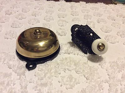 Vintage Brass Mechanical Pull Down Door Bell