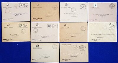 Malta Collection - Cancels 10 General Post Office on Covers + SHC.