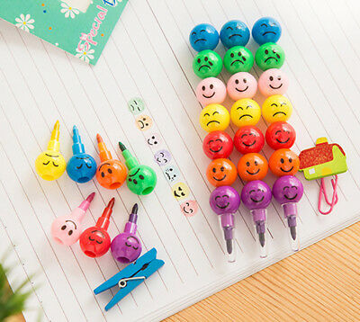 5Pcs 7 Colors Cute Stacker Swap Smile Face Kid's Crayons Children Drawing Gift