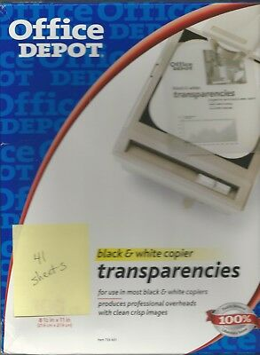 Office Depot 41 sheets PRICE REDUCED 8.5 X 11 B& W Copier Transparencies
