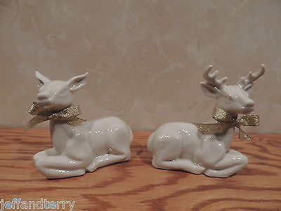 Madison Avenue - White Glazed Bisque Deer - Pair - Male and Female - box too!