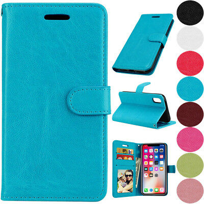 Leather Flip Magnetic Card Wallet Phone Case Cover For Huawei iPhone Samsung