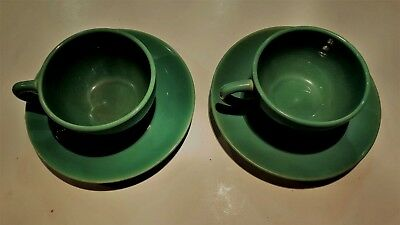Lot of 2 CATALINA Pottery California GREEN Cups and Saucers