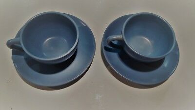 Lot of 2 CATALINA Pottery California BLUE Cups and Saucers