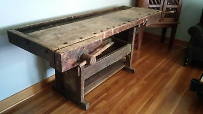 Antique Carpenter / Wood Worker Bench / Table Natural Wood Color