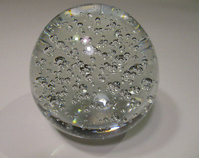 Vintage Murano Style Crystal Ball With Bubbles Paperweight