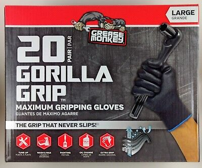 Grease Monkey Gorilla Grip Maximum Gripping Gloves Large   Pack Of   20 / 10 / 5