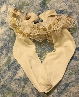 New Color gold Satin Ribbon  Trim Pageant  Flower Girl Socks  each item sold sep