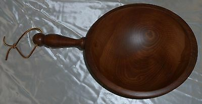 Vintage Woodcroftery Wooden Bowl With Handle & Leather Strap Primitive Rustic