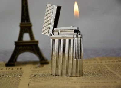 NEW S.T Dupont silvery lighter Memorial brushed Bright Sound ! -22#