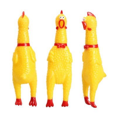 1 x Screaming Rubber Yellow Chicken Pet Dog Puppy Toy Squeak Squeaker Gift Sizes