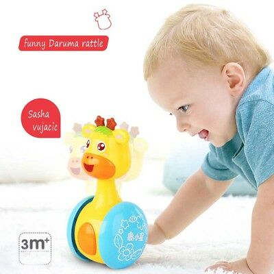 Cartoon Giraffe Tumbler Doll Roly-poly Baby Toys Cute Rattle Ring Bell Early Toy