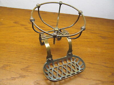 Old Brass ? Bronze ? Claw Foot Tub Soap Dish Cup Holder Soap Caddy Copper Rivets