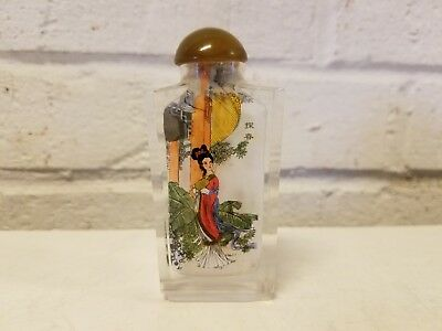 Chinese Reverse Hand Painted Glass Snuff Bottle with Lady Decorations