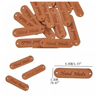 20Pcs PU Leather Retro Brown Synthetic Handmade Label Tags DIY Sew Craft Patch