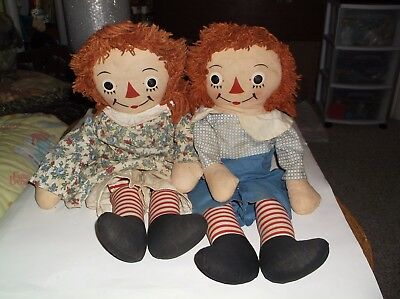 Vintage Georgene Novelty Raggedy Ann & Andy Dolls In Well Loved Condition