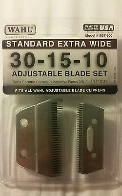 NEW Wahl (1037-600) Standard Extra Wide 30-15-10 ADJUSTABLE CLIPPER Blade Set