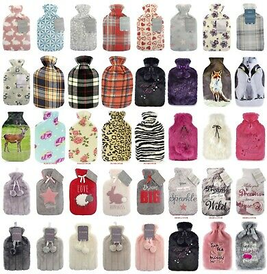 New Soft Cosy Fur Fle Hot Water Bottle With Removable Cover 2 Litre